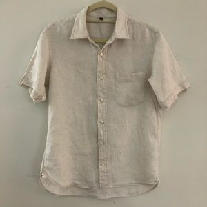 Uniqlo White Linen Button Up, Short Sleeve
